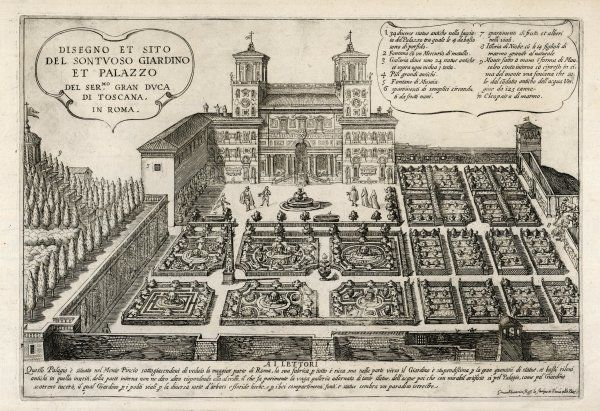 Design of the sumptuous Garden & Palace of the Grand Duke of Toscana shows a series of formal Italian gardens including fountains, an obelisk & covered walkways