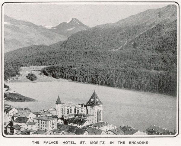 A birds-eye view showing the beautiful scenery in which The Palace Hotel in St. Moritz is situated, 'Where so many distinguished English visitors are now staying&#39