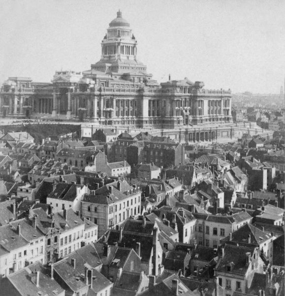General view of the Palace of Justice (Palais de Justice or Law Courts) in Brussels, Belgium. It was built in the late 19th century, and is still a notable landmark