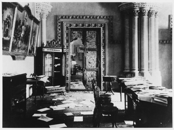 Damage and litter in the Winter Palace, Petrograd, after it is stormed by the Bolsheviks and Kerensky's provisional government ejected
