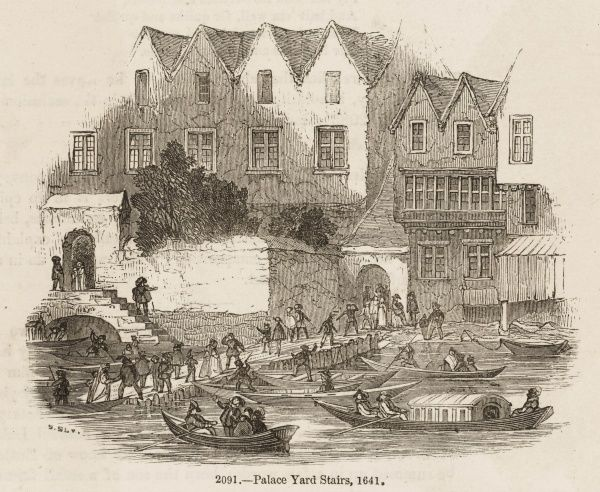 Boats bringing passengers to Westminster, during the reign of Charles I