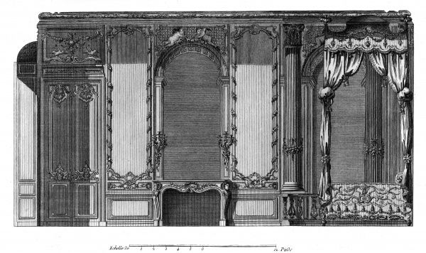 A bedroom with a canopy bed and a chimney in the Palais Royal, Paris. Date: Circa 1760