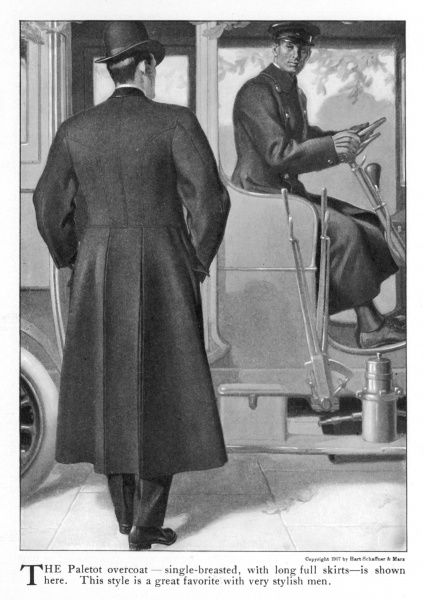 American paletot overcoat viewed from the back: long full skirts with vents, waist seam & hip pockets with flaps. The gentleman wears a bowler hat