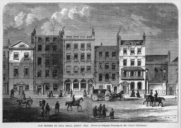 Old houses in Pall Mall in the early nineteenth century