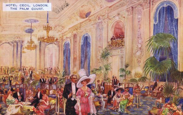 A postcard showing the Palm Court at the Hotel Cecil, London Date: 1910s