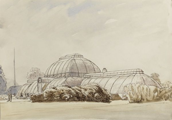 The Palm House, Kew Gardens, London. Watercolour painting by Raymond Sheppard