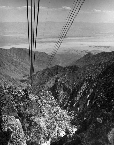 View from a Palm Springs aerial tram, California, U.S.A. Date: late 1960s