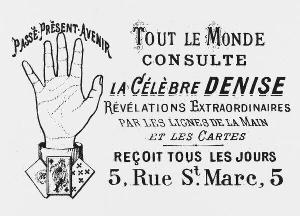 Advertisement for a French fortune teller, working with palmistry and the cards