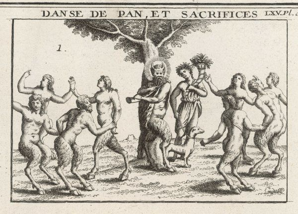 Pan (also known as FAUNUS) pipes and dances with nymphs and satyrs