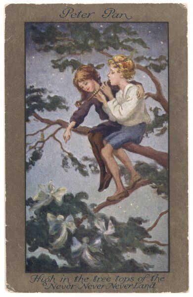 Peter Pan and Wendy sit in a treetop in Never-Never Land
