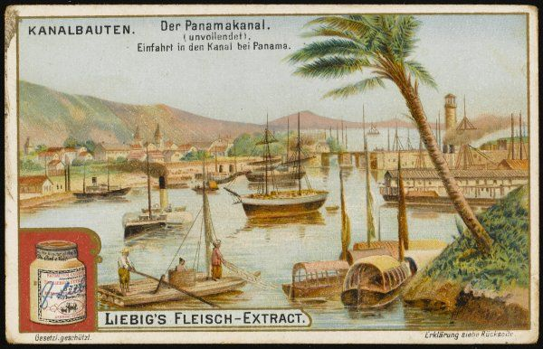 The harbour of Panama, southern terminal of the proposed canal, which this year is ceded to USA : it will not be completed till 1914