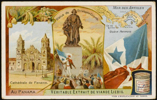 Panama - the cathedral, the statue of Columbus, the flag