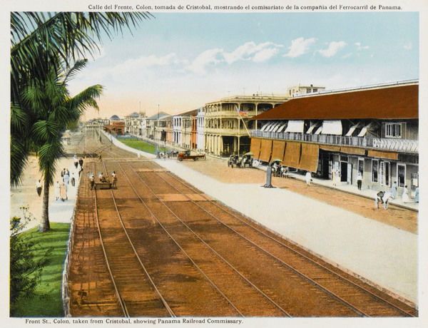 Colon: Calle del Frente (Front Street), viewed from Cristobal, showing the Panama railway company