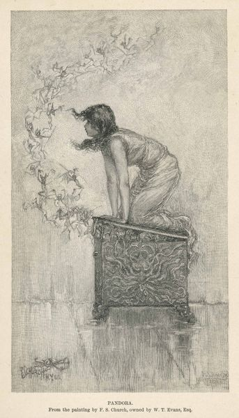 Hephaistos created Pandora, on Zeus's orders, to bring ruin to mankind : married to Epimethus, she brought a box which when opened released all the evils.. but also Hope