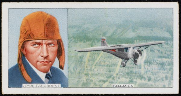 Clyde Pangborne, American aviator, and his Bellanca: he flew from Japan to Washington non-stop
