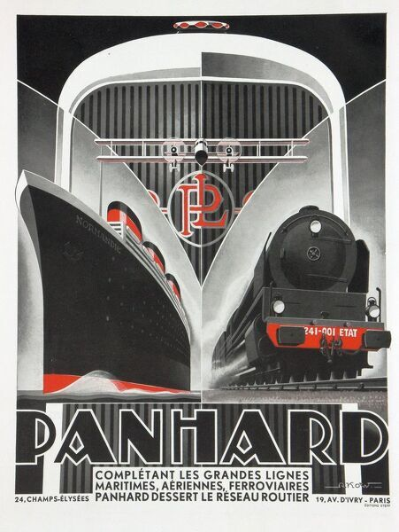 An art deco style travel poster for Panhard showing a steam ship, steam engine and a car radiator grill