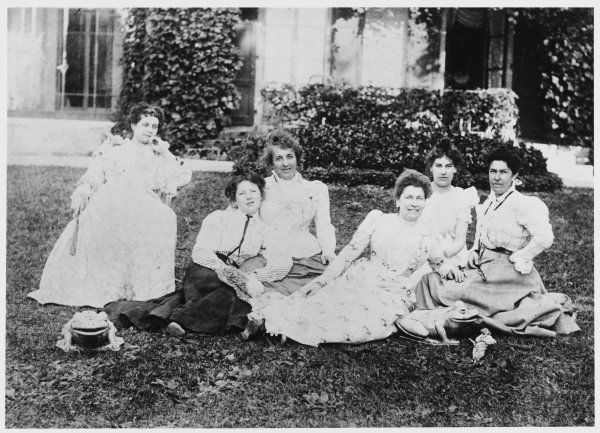 EMMELINE & CHRISTABEL PANKHURST. Shown here with friends in the garden of their home in Manchester, circa 1898