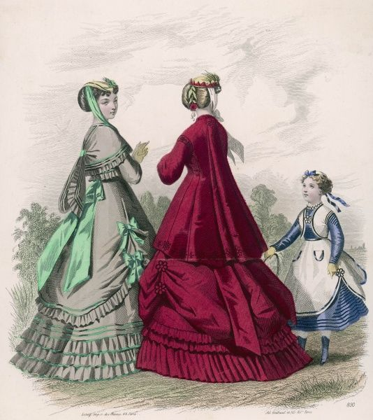 Pardessus with a Watteau pleat; pannier skirts & pleated or gathered flounces. Girl: over skirt & sleeveless bolero worn over a blue dress with horizontal stripes