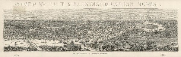 Superb panorama of London from 1845 showing the city from Blackfriars Bridge to Greenwich. Special supplement issued with The Illustrated London News