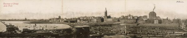 Spectacular panoramic view of the lakeside Port of Chicago in 1902, showing the distinctive skyline and the huge sets of railway wagons in the foreground