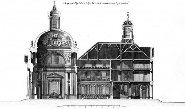 Cut-away of the Royal Abbey of Panthemont, Faubourg Saint Germain, Paris. Date: Circa 1760