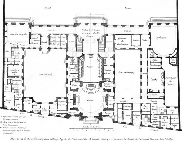 Plan of the ground floor of the Royal Abbey of Panthemont, Faubourg Saint Germain, Paris. Designed by Francois Franque, architect for Louis XV. Date: Circa 1760