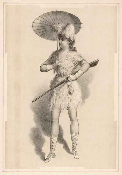 Lydia Thompson (1836-1908) in the part of Crusoe, which in pantomume is traditionally a transvestite role