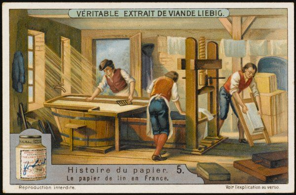 Making paper from flax (linen) in 19th century France