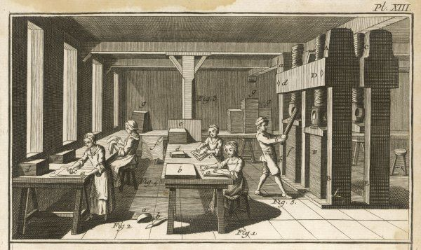Four women and a man at work in a paper workshop in 18th century France