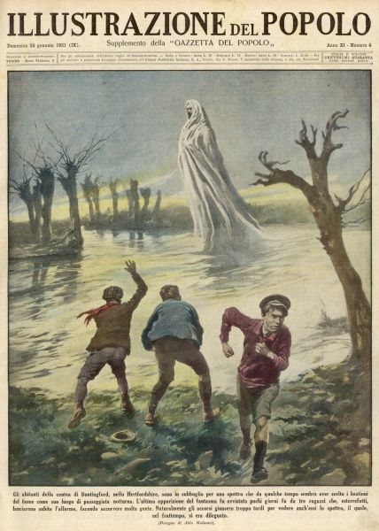 Apparition seen over a river at Buntingford, Hertfordshire, by several witnesses including these three boys