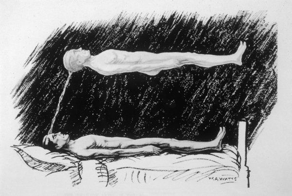 THE OUT-OF-BODY EXPERIENCE figure 2 of 5 The Astral Body, lying in the air above the physical body