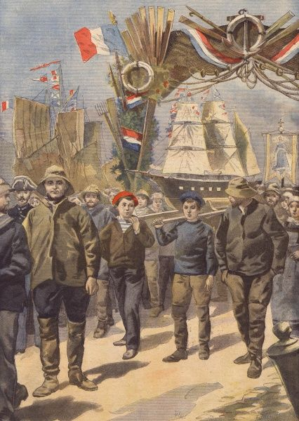 'Pardon' religious festival for the fishermen from the Iceland fisheries, at Paimpoul, Brittany Date: 1898