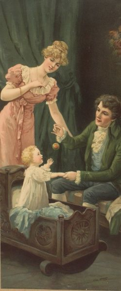 Two parents in Regency dress admire their baby who doesn't look like he wants to go to bed