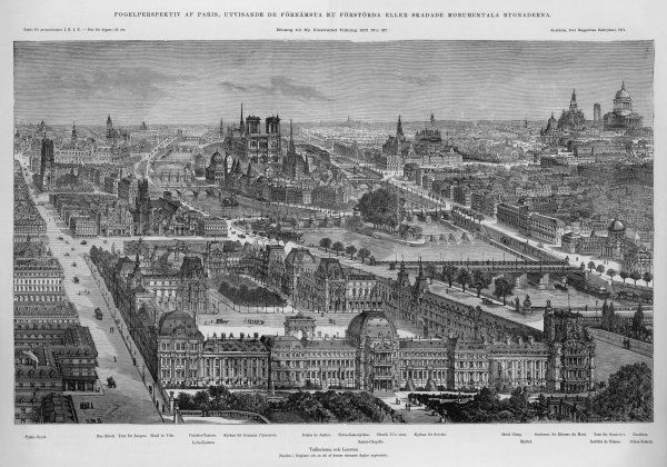 aerial view just before the Commune ; the caption states that the facade of the Tuileries Palace, in the fore- ground, has just been reported destroyed