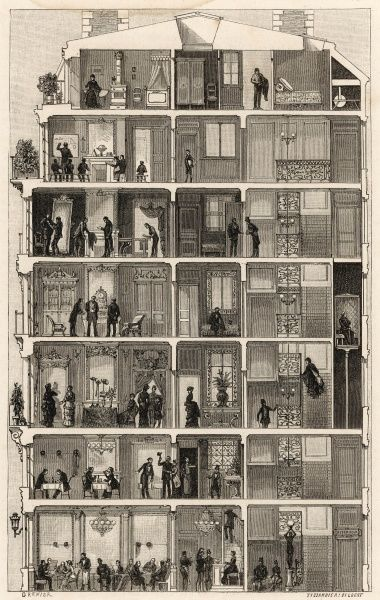 From the restaurant at the bottom of the building to the schoolroom near the top, the inhabitants of a Paris apartment house pursue their various lifestyles