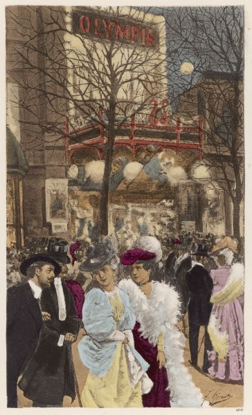 Boulevard des Capucines: l'Olympia, with people milling about outside