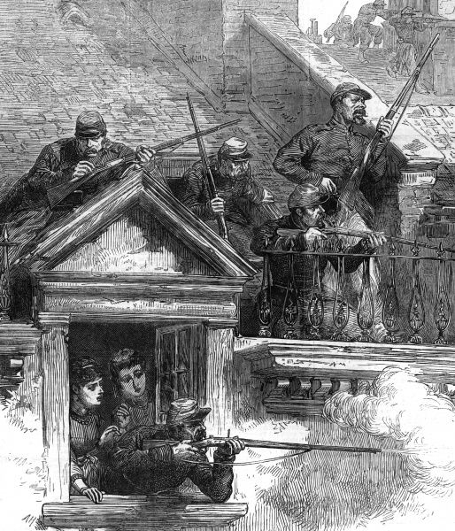 Government forces suppress the Commune : fighting on the housetops in the Faubourg Poisonniere. Anyone with a gun or a can of petrol in their hands is summarily shot. Date: 1871