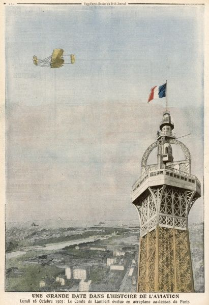The Comte de Lambert circles the Tower in a Wright biplane