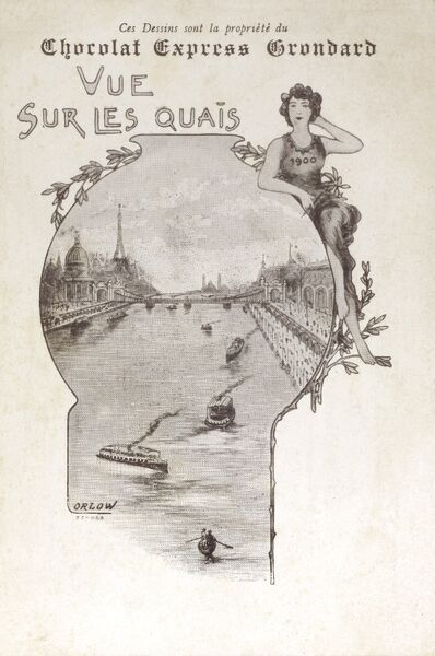 The Paris World Exhibition of 1900 - Advertising cards celebrating the event promoting the Chocolat Express Grondard company. View of the Quayside (with the distinctive shape of the Eiffel Tower in the background). Date: 1900