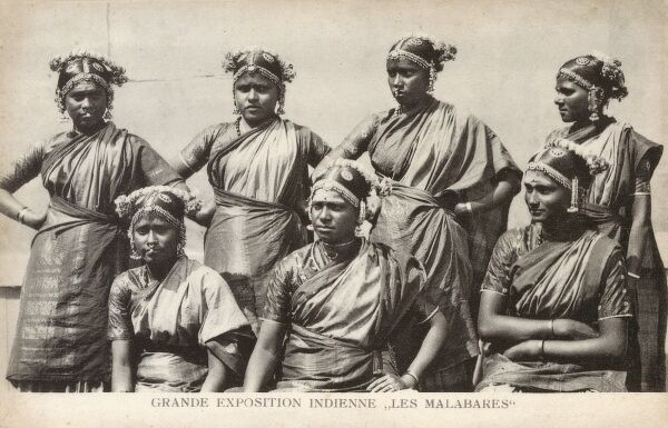 People from the Malabar region of southern India (lying between the Western Ghats and the Arabian Sea) at the 'Grande Exposition Indienne' held in Paris in 1902. A group of Malabar women in traditional costume, possibly a group of dancers