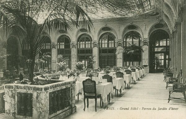 The Winter Garden Restaurant at the Grand Hotel in Paris, GFrance - a very typical architectural form/setting of the period