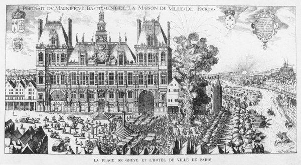 The Hotel de Ville and la place de Greve, Paris. An artillery salvo is taking place to celebrate something