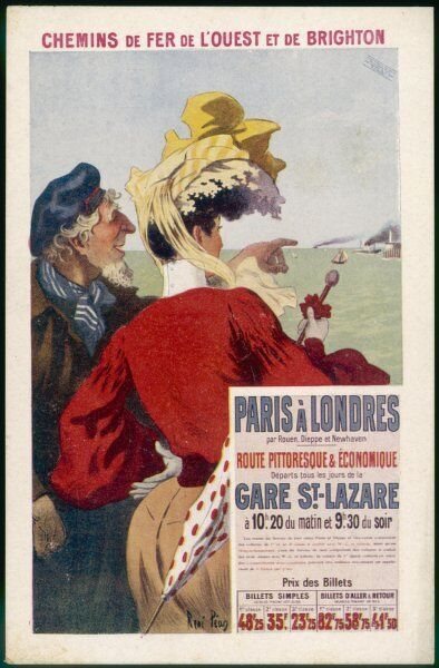 By rail and sea from Paris to Brighton or London, featuring a sailor pointing out sights to a passenger 3 of 8
