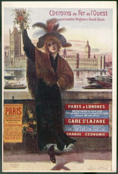 By rail and sea from Paris to Brighton or London, featuring a flower-seller and Westminster 7 of 8