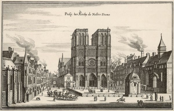 Social scene outside Notre Dame, including a horse and carriage and a man on horseback
