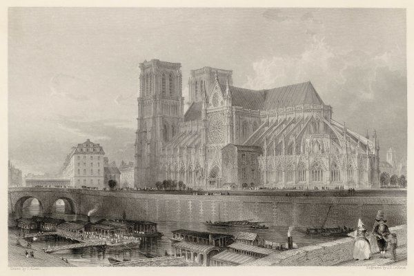 Notre Dame de Paris, before the addition of the spire