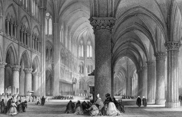 Notre Dame de Paris, interior view, with worshippers Date: circa 1835