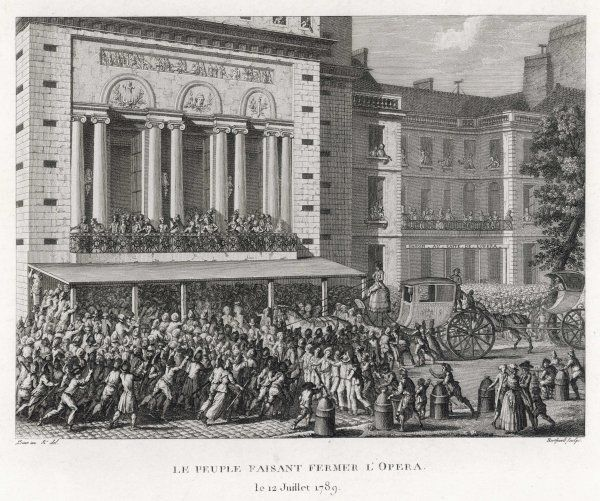 When Necker, the only minister trusted by the people, is dismissed by Louis, the crowd close the Paris Opera, symbol of luxury, as a gesture of their sense of loss