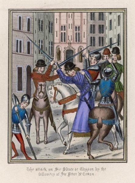 A fight in the streets of Paris - sire Olivier de Clisson is attacked by the men of sire Pierre de Craon