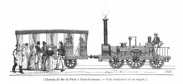Locomotive 'Dragon' and wagon of the 'Rothschild' line from Paris to Saint-Germain
